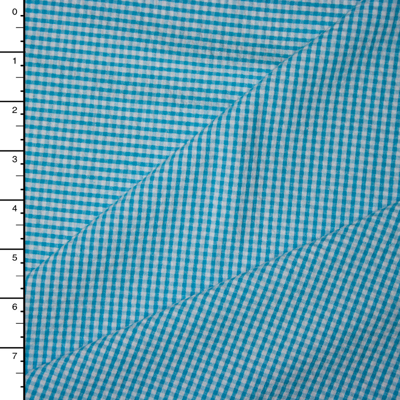 Turquoise and White Micro Gingham Plaid Seersucker