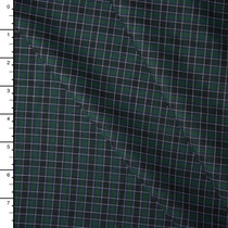Green and Black Plaid Soft Midweight Cotton Gabardine