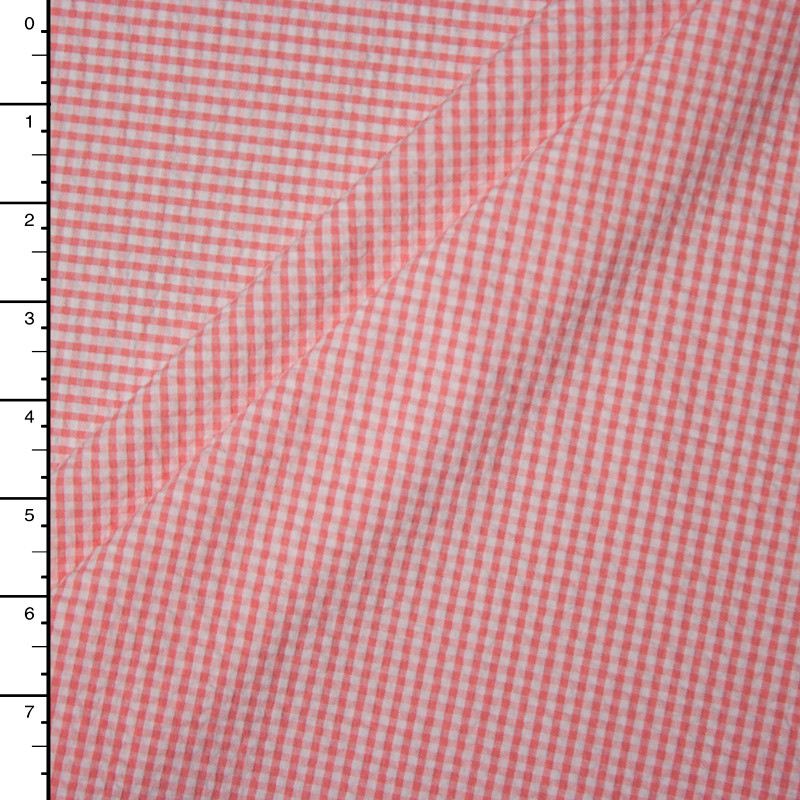 Coral and White Micro Gingham Plaid Seersucker