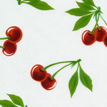 """Stella"" Cherries on White Oilcloth"
