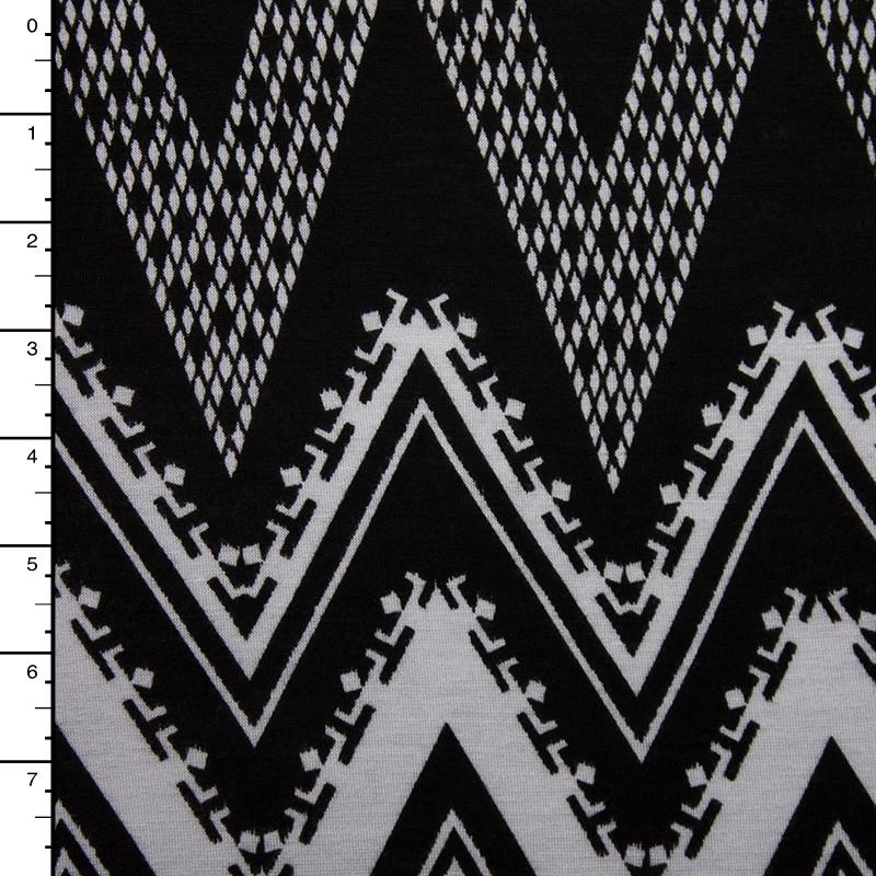 Black and White Patterned Chevron Stretch Rayon Jersey Knit