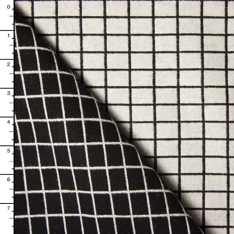 Black and Offwhite Windowpane Check Wool Jaquard Coating