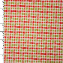 Ivory, Lime,and Red Plaid Designer Wool Blend Coating