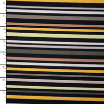 Yellow, Grey, Tan, and Black Stripe Stretch Midweight Poplin