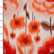 Orange and Red Ikat Floral Midweight Stretch Poplin Print
