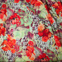 Red Roses Abstract Rayon Challis