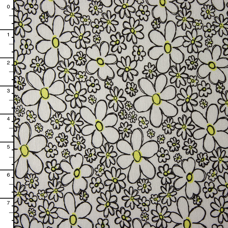 Black and Yellow Daisies on White Stretch Jersey Knit