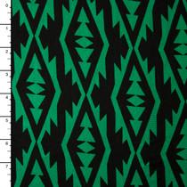Bright Green on Black Modern Tribal Stretch Jersey