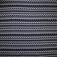 Black and White Ikat Stripe Cotton Stretch Jersey Knit