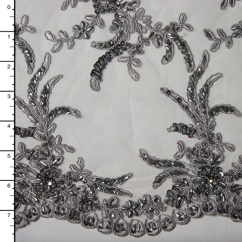 Silver Reimbroidered Beaded Bridal Lace