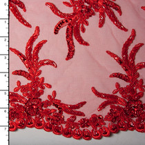 Red Reimbroidered Beaded Bridal Lace