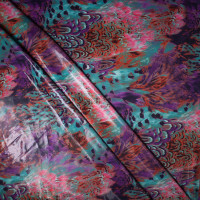 Teal and Purple Brushstroke Feather Gloss Nylon/Lycra Print