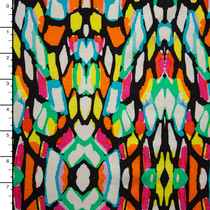 Vibrant Stained Glass Look Stretch Rayon Jersey Print