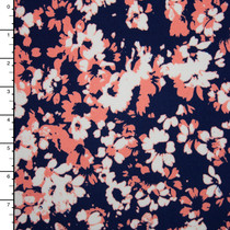 Pink and White Brush Floral on Navy Stretch Poly Knit