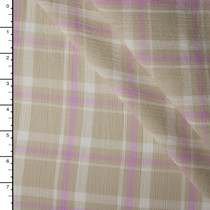 Tan and Lavender Plaid Cotton Gauze