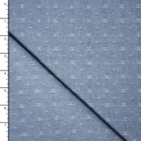 Blue Dotted Lightweight Cotton Dobby Chambray