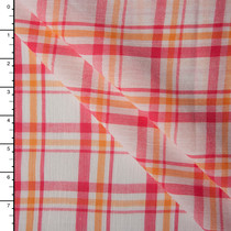 White, Hot Pink, and Orange Plaid Cotton Gauze