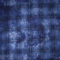 Deep Blue Tie Dye Plaid Rayon Voile