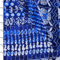 Blue and White Island Tribal Rayon Challis Print