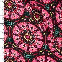 Hot Pink, Yellow, and Black Medallion Rayon Challi Print