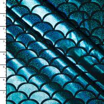 Ocean Blue on Black Holographic Mermaid Scale Nylon/Lycra