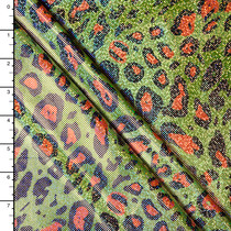 Holographic Lime and Orange Leopard Spandex