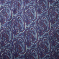 Navy and Plum Paisley Print Stretch Twill