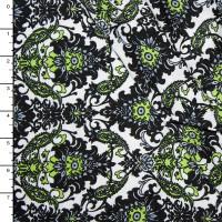 Chartreuse, Black, and White Paisley Border Print Rayon Challis