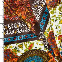Ornate Paisley Pattern Stripe Lightweight Rayon Sateen