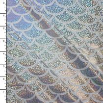 Silver on White Holographic Mermaid Scale Nylon/Lycra