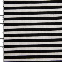 Black and White 4-Way Stretch Rib Knit