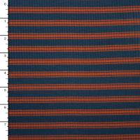 Orange and Navy 4-Way Stretch Rib Knit