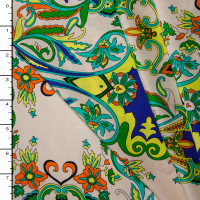 Neon Scrollwork on Ivory Rayon Challis Print