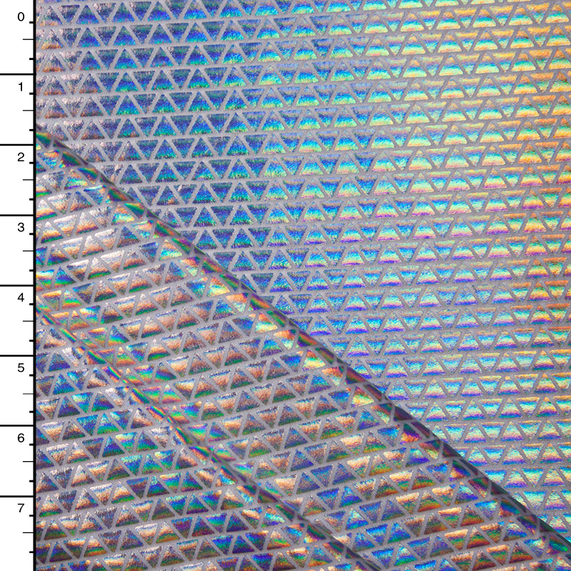 Triangle Pattern Iridescent Silver Metallic Lycra