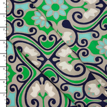 Aqua and Lime Floral Scrollwork Polyester Peachskin Print