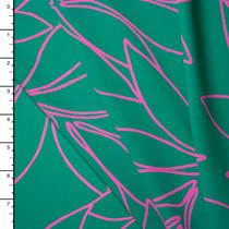 Hot Pink Leaves on Seafoam Green Lightweight Polyester Crepe