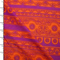 Bright Orange and Fuschia Ornate Stripe Rayon Jersey Knit