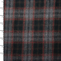 "Black, Grey, and Red Plaid 45"" Flannel"