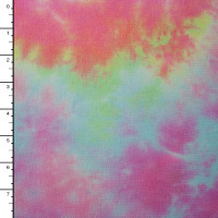 Pink, Blue, and Yellow Tie Dye  Stretch Jersey Knit