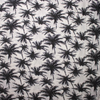 Black on Ivory Palm Tree Rayon Challis