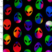 Rainbow Aliens on Black Nylon/Lycra