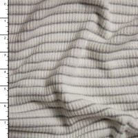 Warm White and Grey Heavy Ribbed Stretch Sweater Knit