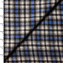 Blue, Black, and Light Grey Plaid Italian Wool Coating
