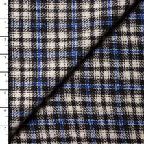 Blue, Black, and Light Grey Plaid Italian Wool Coating