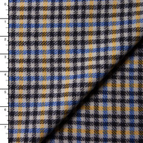 Blue, Yellow, Black, and Light Grey Plaid Italian Wool Coating