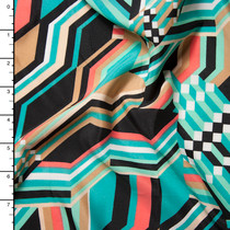 Aqua, Tan, and Coral Abstract Crepe De Chine Print