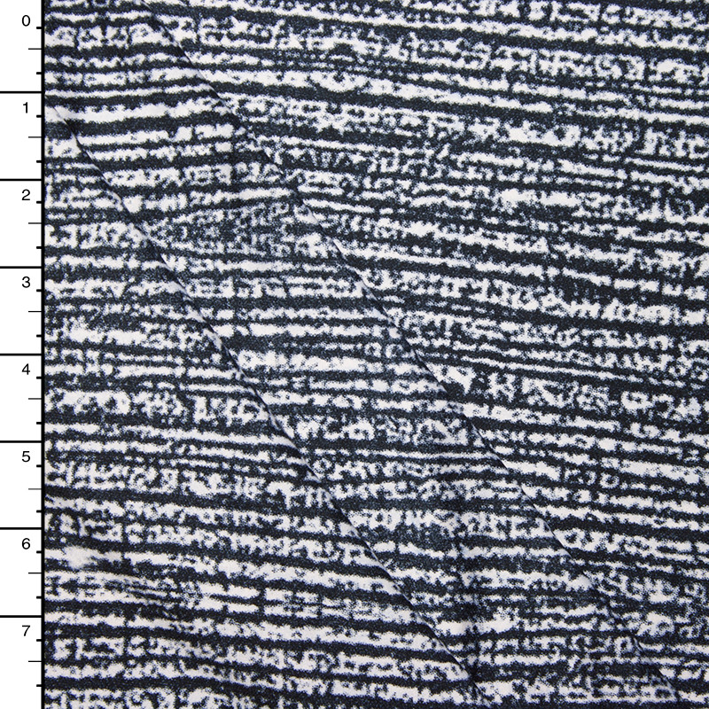 Black on White Grunge Lined Double Brushed Poly Spandex Knit Print