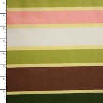 Green, Tan, and Brown Stripe Cotton Lawn Print