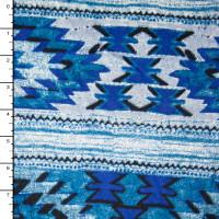 Blue Southwestern Stripe Rayon Challis PRint