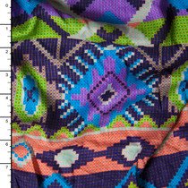 Green, Orange, and Purple Tribal Stripe Rayon Challis Print